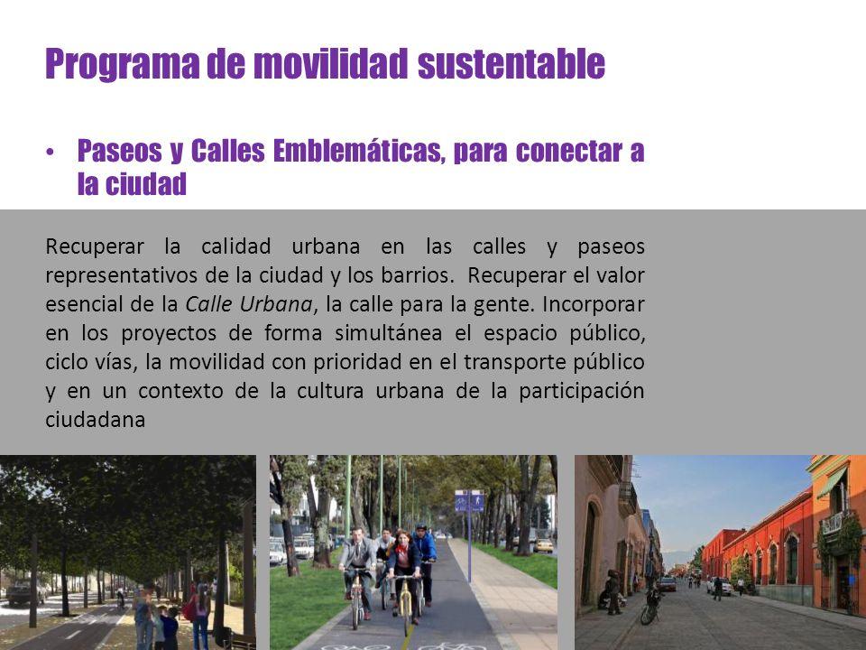 Programa de movilidad sustentable Paseos y Calles Emblemáticas, para conectar a la ciudad Recuperar la calidad urbana en las calles y paseos represent