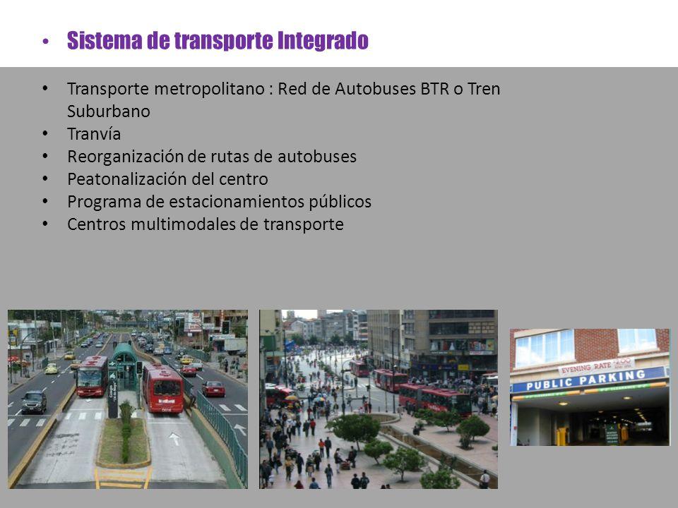 Sistema de transporte Integrado Transporte metropolitano : Red de Autobuses BTR o Tren Suburbano Tranvía Reorganización de rutas de autobuses Peatonal