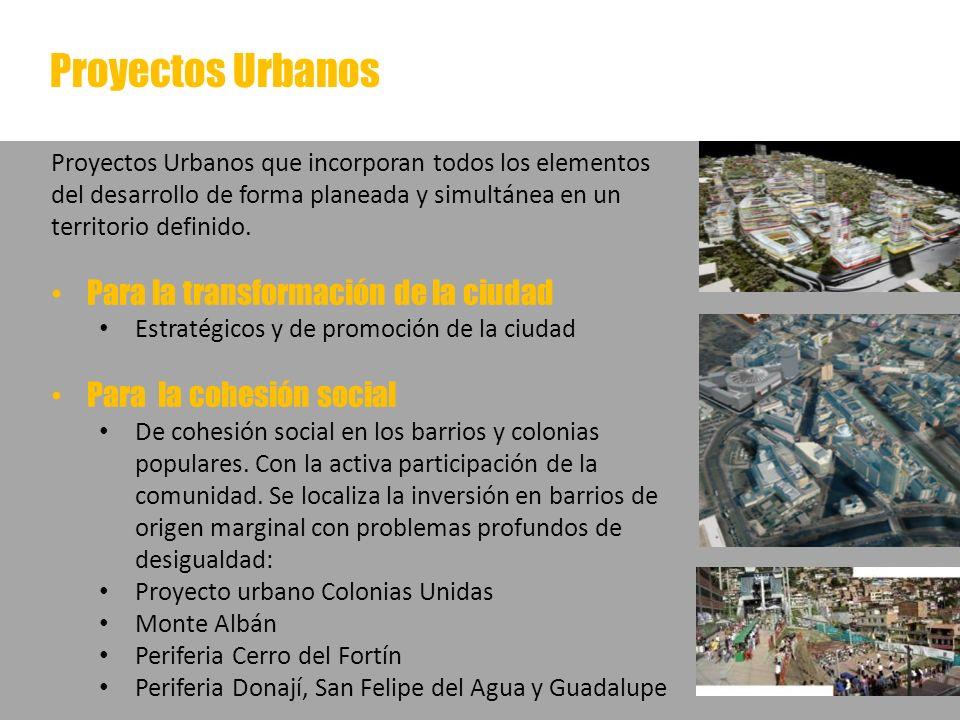 Proyectos Urbanos Proyectos Urbanos que incorporan todos los elementos del desarrollo de forma planeada y simultánea en un territorio definido. Para l