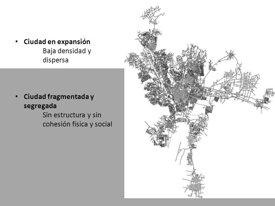Ciudad en expansión Baja densidad y dispersa Ciudad fragmentada y segregada Sin estructura y sin cohesión física y social