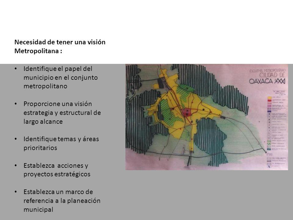 Necesidad de tener una visión Metropolitana : Identifique el papel del municipio en el conjunto metropolitano Proporcione una visión estrategia y estructural de largo alcance Identifique temas y áreas prioritarios Establezca acciones y proyectos estratégicos Establezca un marco de referencia a la planeación municipal
