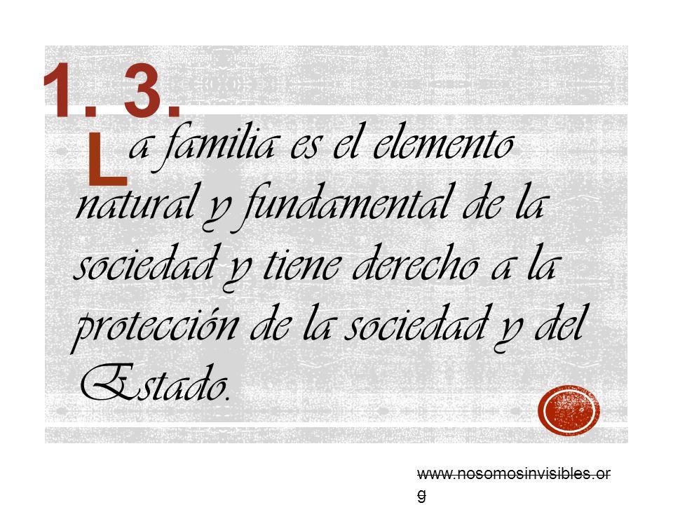 a familia es el elemento natural y fundamental de la sociedad y tiene derecho a la protección de la sociedad y del Estado. 1. 3. www.nosomosinvisibles