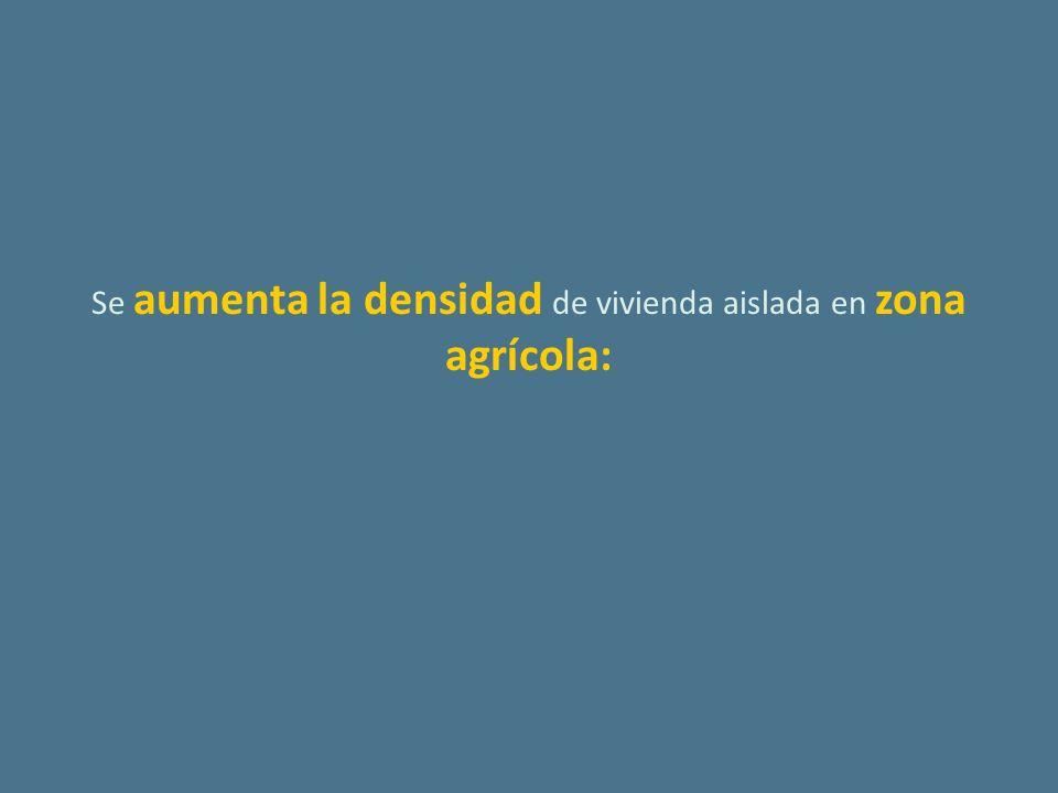 Se aumenta la densidad de vivienda aislada en zona agrícola: