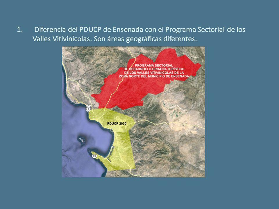 1. Diferencia del PDUCP de Ensenada con el Programa Sectorial de los Valles Vitivinícolas.