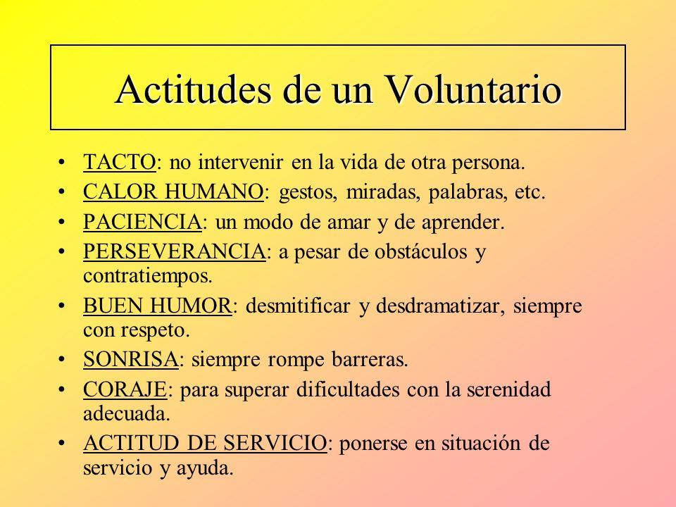 Actitudes de un Voluntario TACTO: no intervenir en la vida de otra persona. CALOR HUMANO: gestos, miradas, palabras, etc. PACIENCIA: un modo de amar y
