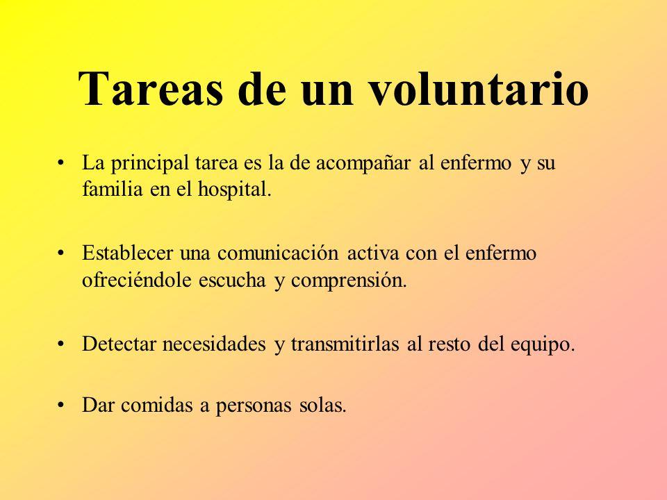 Tareas de un voluntario La principal tarea es la de acompañar al enfermo y su familia en el hospital. Establecer una comunicación activa con el enferm