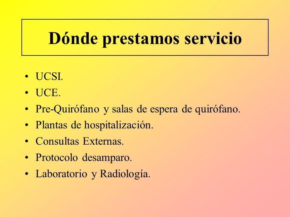 Dónde prestamos servicio UCSI. UCE. Pre-Quirófano y salas de espera de quirófano. Plantas de hospitalización. Consultas Externas. Protocolo desamparo.