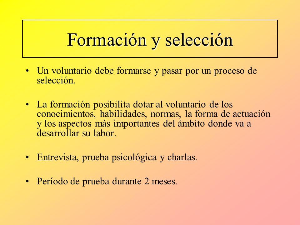 Formación y selección Un voluntario debe formarse y pasar por un proceso de selección. La formación posibilita dotar al voluntario de los conocimiento