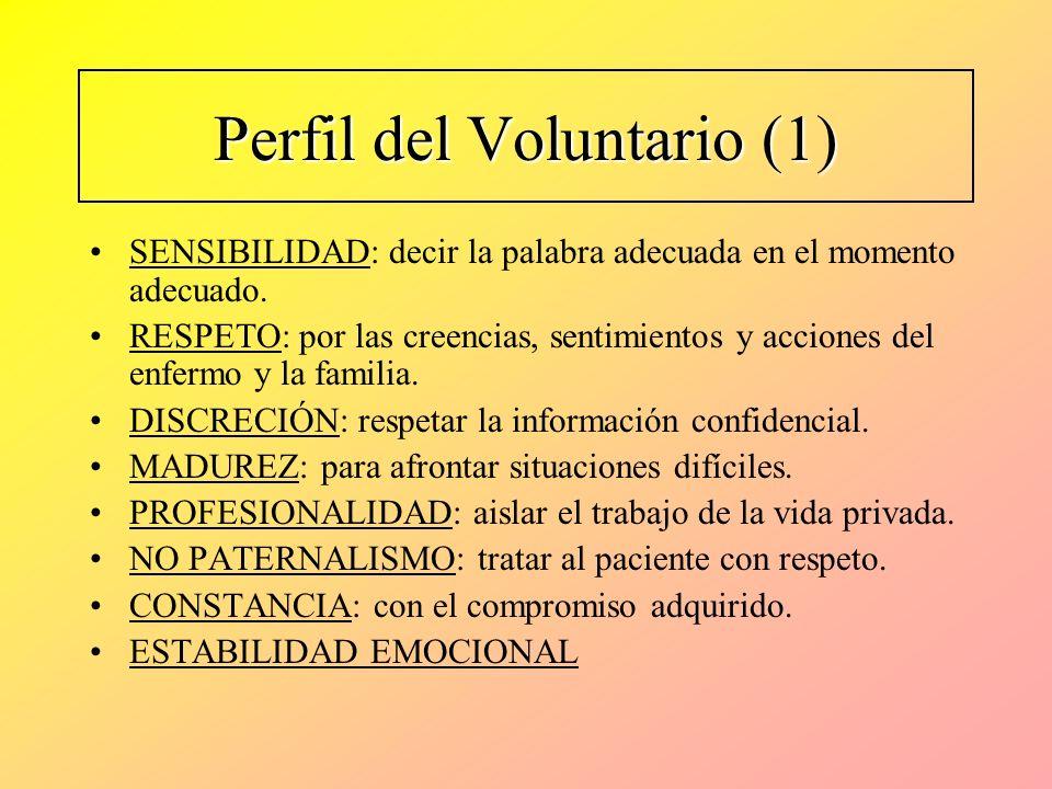 Perfil del Voluntario (1) SENSIBILIDAD: decir la palabra adecuada en el momento adecuado. RESPETO: por las creencias, sentimientos y acciones del enfe