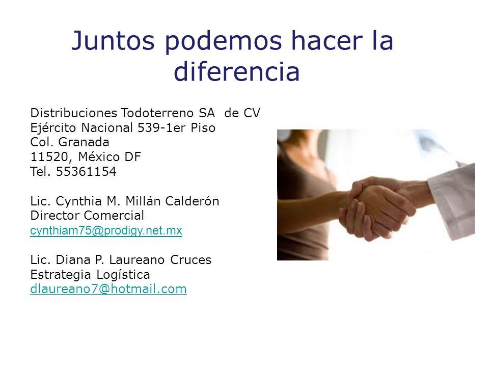Juntos podemos hacer la diferencia Distribuciones Todoterreno SA de CV Ejército Nacional 539-1er Piso Col.