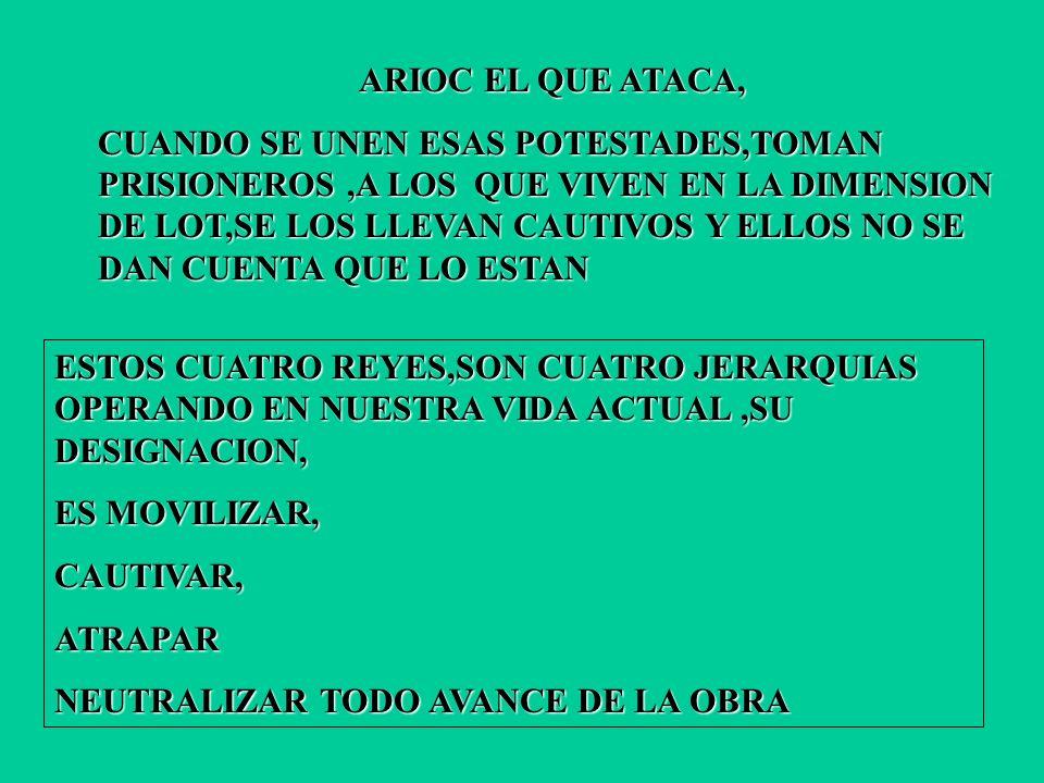 ARIOC EL QUE ATACA, CUANDO SE UNEN ESAS POTESTADES,TOMAN PRISIONEROS,A LOS QUE VIVEN EN LA DIMENSION DE LOT,SE LOS LLEVAN CAUTIVOS Y ELLOS NO SE DAN CUENTA QUE LO ESTAN ESTOS CUATRO REYES,SON CUATRO JERARQUIAS OPERANDO EN NUESTRA VIDA ACTUAL,SU DESIGNACION, ES MOVILIZAR, CAUTIVAR,ATRAPAR NEUTRALIZAR TODO AVANCE DE LA OBRA