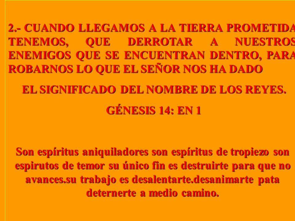 2.- CUANDO LLEGAMOS A LA TIERRA PROMETIDA TENEMOS, QUE DERROTAR A NUESTROS ENEMIGOS QUE SE ENCUENTRAN DENTRO, PARA ROBARNOS LO QUE EL SEÑOR NOS HA DADO EL SIGNIFICADO DEL NOMBRE DE LOS REYES.