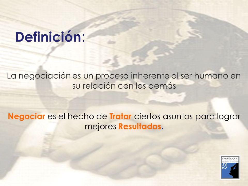 Definición : La negociación es un proceso inherente al ser humano en su relación con los demás Negociar es el hecho de Tratar ciertos asuntos para log