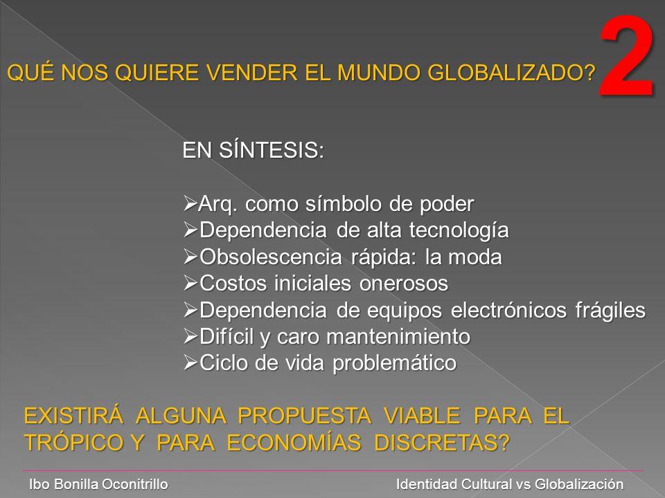 Ibo Bonilla Oconitrillo Identidad Cultural vs Globalización QUÉ NOS QUIERE VENDER EL MUNDO GLOBALIZADO.
