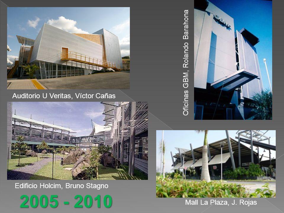 Auditorio U Veritas, Víctor Cañas Oficinas GBM, Rolando Barahona Edificio Holcim, Bruno Stagno Mall La Plaza, J.