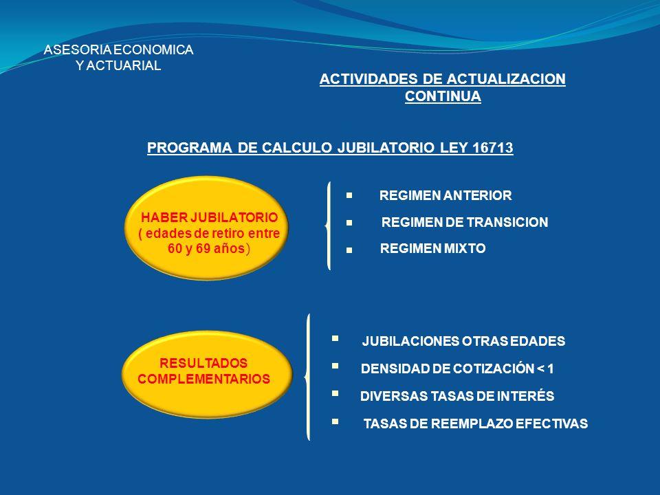 ASESORIA ECONOMICA Y ACTUARIAL ACTIVIDADES DE ACTUALIZACION CONTINUA PROGRAMA DE CALCULO JUBILATORIO LEY 16713 HABER JUBILATORIO ( edades de retiro en