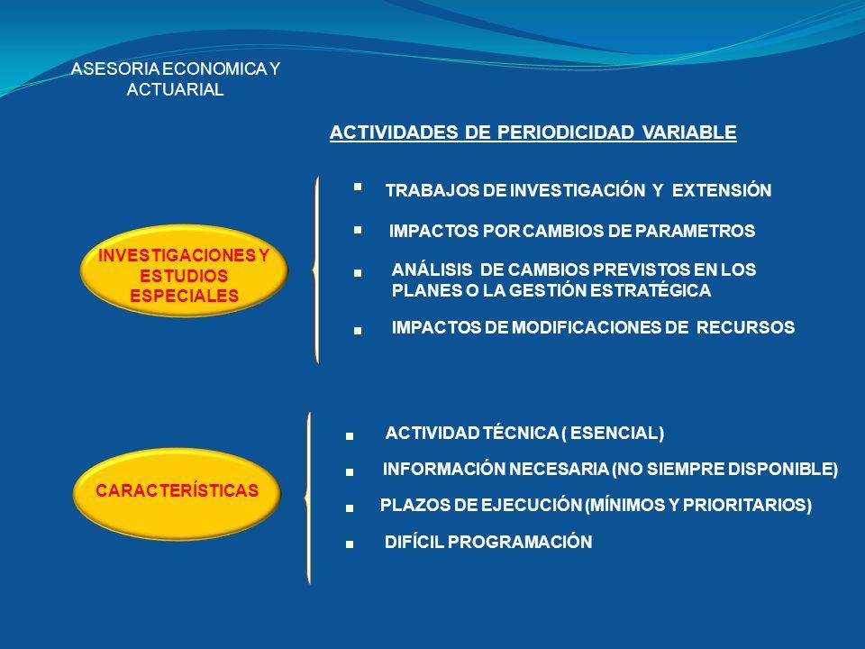 ASESORIA ECONOMICA Y ACTUARIAL ACTIVIDADES DE PERIODICIDAD VARIABLE INVESTIGACIONES Y ESTUDIOS ESPECIALES CARACTERÍSTICAS TRABAJOS DE INVESTIGACIÓN Y