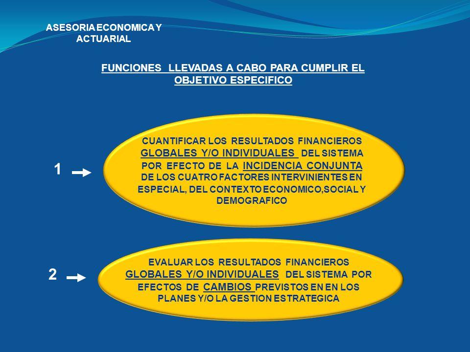 ASESORIA ECONOMICA Y ACTUARIAL FUNCIONES LLEVADAS A CABO PARA CUMPLIR EL OBJETIVO ESPECIFICO CUANTIFICAR LOS RESULTADOS FINANCIEROS GLOBALES Y/O INDIV