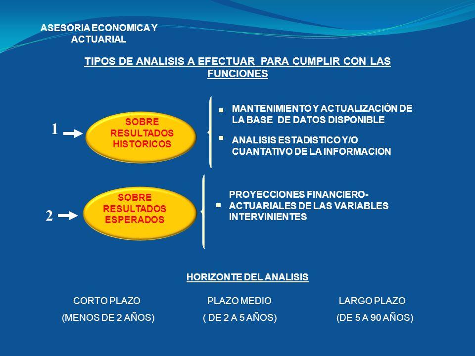 ASESORIA ECONOMICA Y ACTUARIAL TIPOS DE ANALISIS A EFECTUAR PARA CUMPLIR CON LAS FUNCIONES HORIZONTE DEL ANALISIS CORTO PLAZO (MENOS DE 2 AÑOS) PLAZO