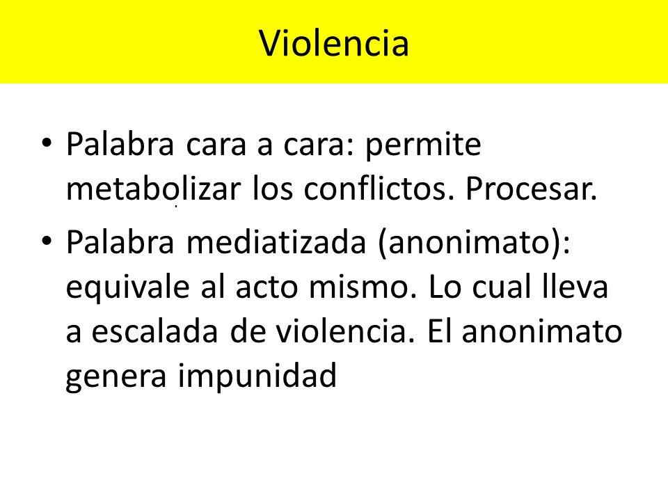 Violencia Palabra cara a cara: permite metabolizar los conflictos. Procesar. Palabra mediatizada (anonimato): equivale al acto mismo. Lo cual lleva a