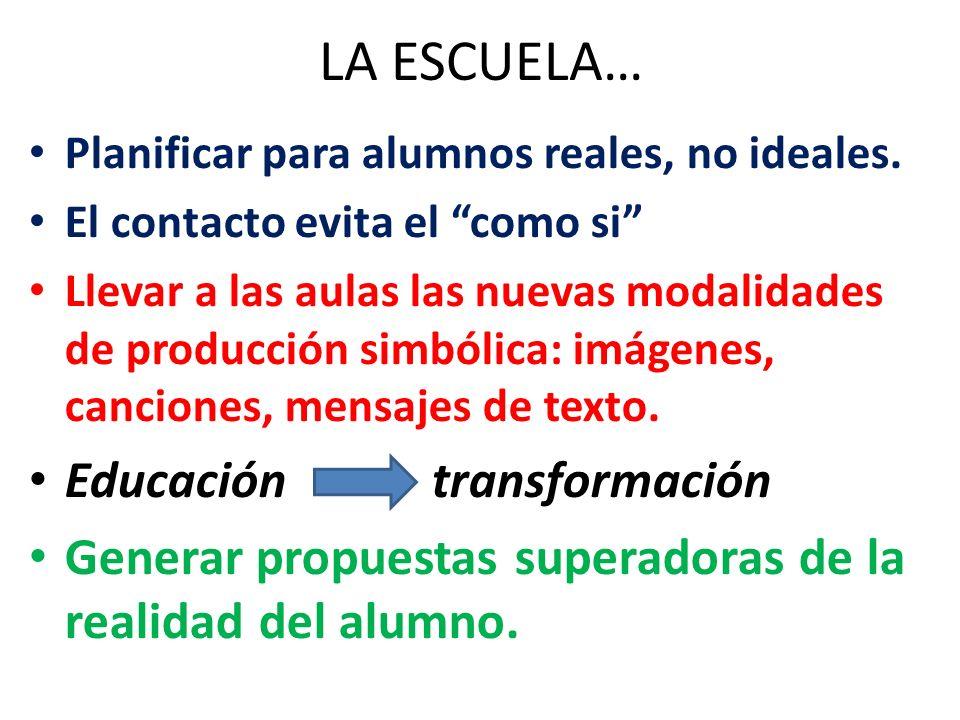 LA ESCUELA… Planificar para alumnos reales, no ideales. El contacto evita el como si Llevar a las aulas las nuevas modalidades de producción simbólica