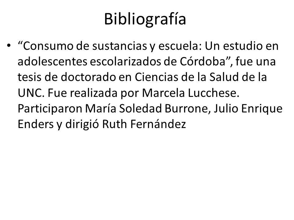 Bibliografía Consumo de sustancias y escuela: Un estudio en adolescentes escolarizados de Córdoba, fue una tesis de doctorado en Ciencias de la Salud