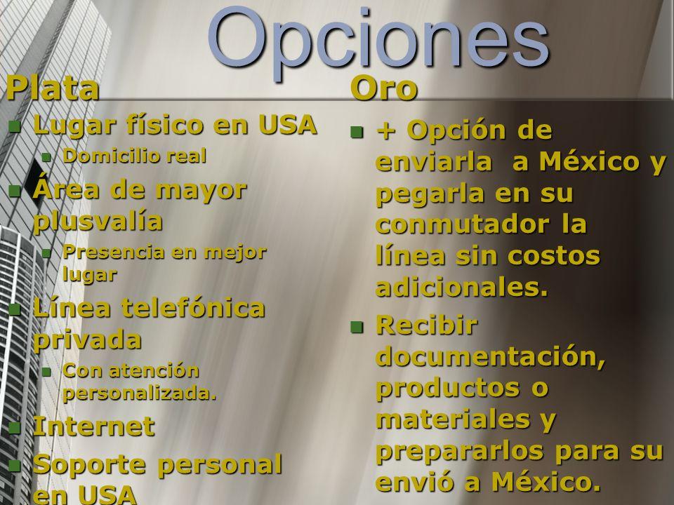 Opciones Plata Telefonía de entrada Ilimitada, Salida de 200 minutos al mes sin costo a todo USA.