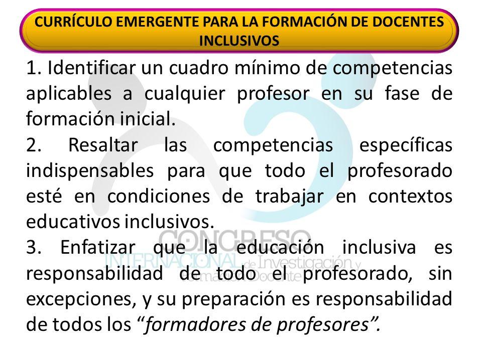 1. Identificar un cuadro mínimo de competencias aplicables a cualquier profesor en su fase de formación inicial. 2. Resaltar las competencias específi