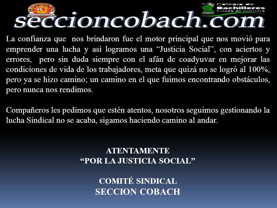 25.- Creamos para todos ustedes la página de web www.seccioncobach.com., la cual nos ha dado la oportunidad de tener una mayor comunicación, del mismo modo estamos en facebook, vía twitter y correos electrónicos, marcando con esto una comunicación de vanguardia muy importante.