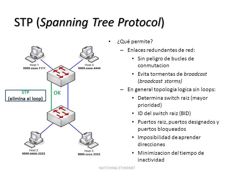 STP (Spanning Tree Protocol) SWITCHING ETHERNET ¿Qué permite? – Enlaces redundantes de red: Sin peligro de bucles de conmutacion Evita tormentas de br