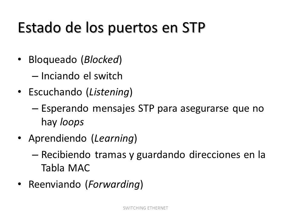 Estado de los puertos en STP Bloqueado (Blocked) – Inciando el switch Escuchando (Listening) – Esperando mensajes STP para asegurarse que no hay loops