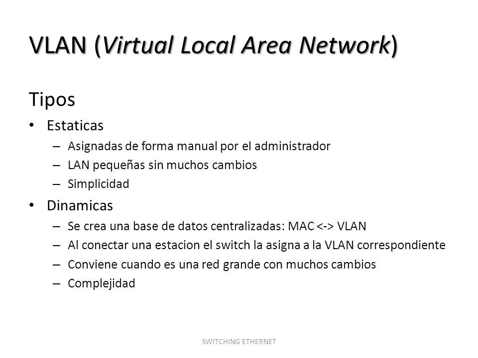VLAN (Virtual Local Area Network) Tipos Estaticas – Asignadas de forma manual por el administrador – LAN pequeñas sin muchos cambios – Simplicidad Din