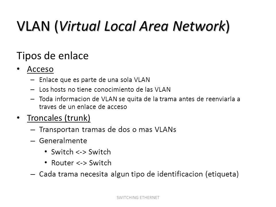 VLAN (Virtual Local Area Network) Tipos de enlace Acceso – Enlace que es parte de una sola VLAN – Los hosts no tiene conocimiento de las VLAN – Toda i