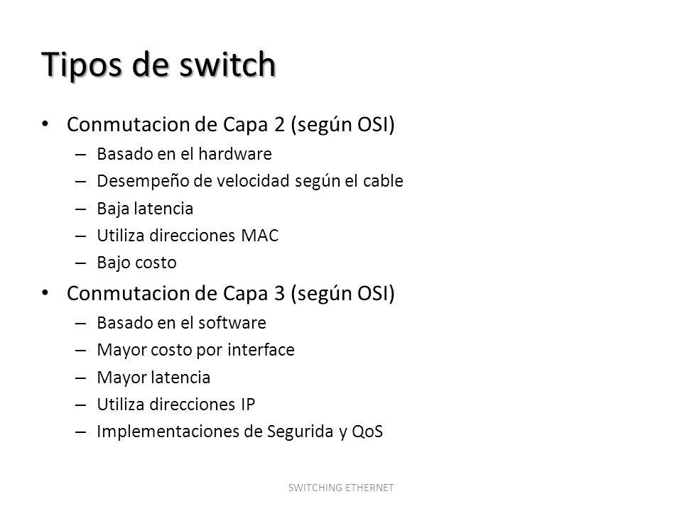 Tipos de switch Conmutacion de Capa 2 (según OSI) – Basado en el hardware – Desempeño de velocidad según el cable – Baja latencia – Utiliza direccione