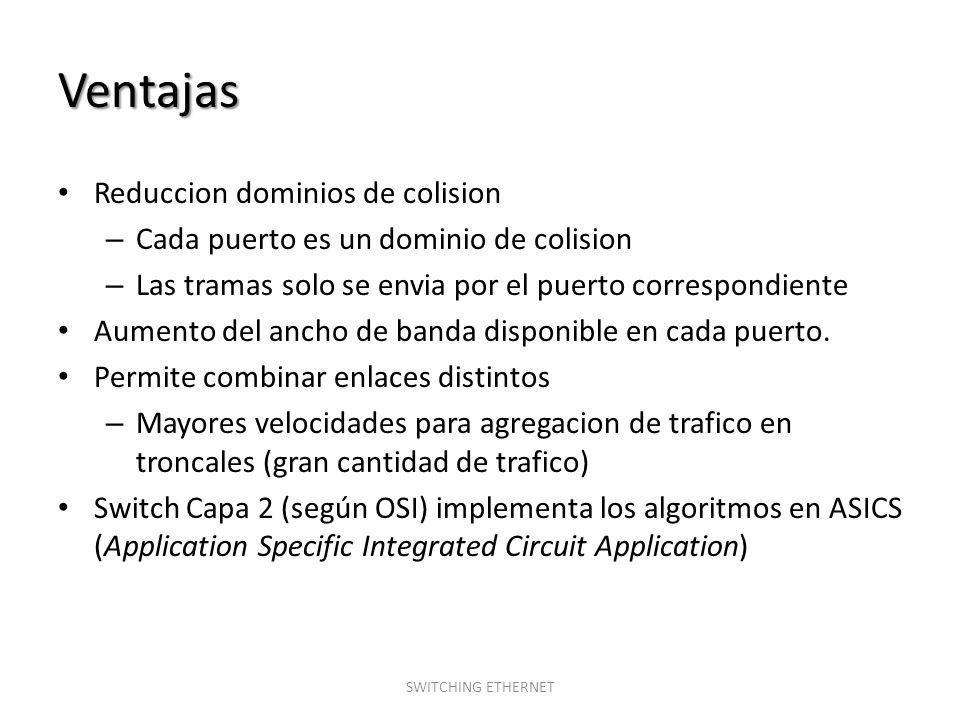 Ventajas Reduccion dominios de colision – Cada puerto es un dominio de colision – Las tramas solo se envia por el puerto correspondiente Aumento del a