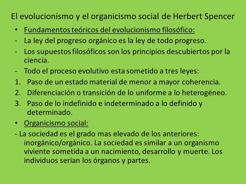 El evolucionismo y el organicismo social de Herbert Spencer Fundamentos teóricos del evolucionismo filosófico: -La ley del progreso orgánico es la ley