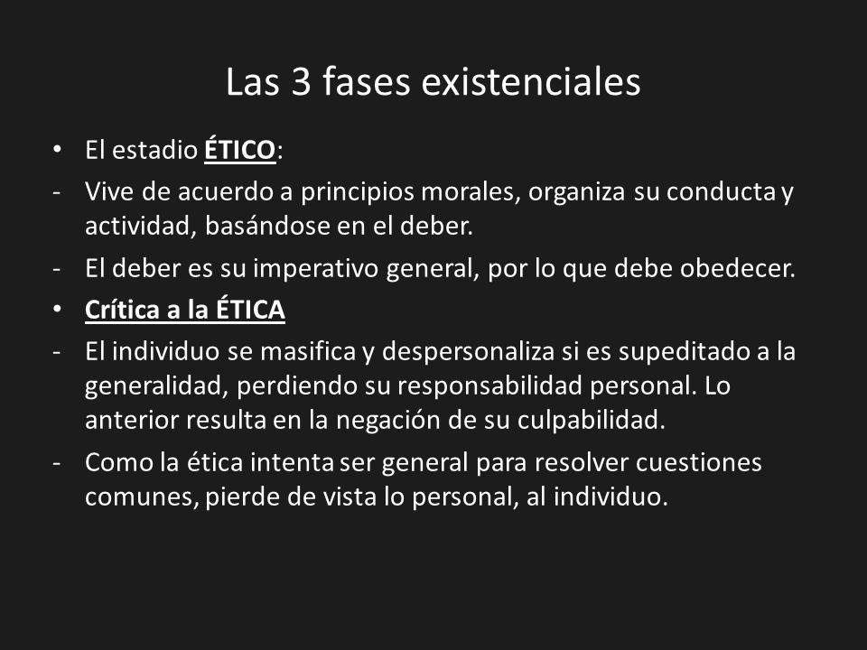 Las 3 fases existenciales El estadio ÉTICO: -Vive de acuerdo a principios morales, organiza su conducta y actividad, basándose en el deber. -El deber