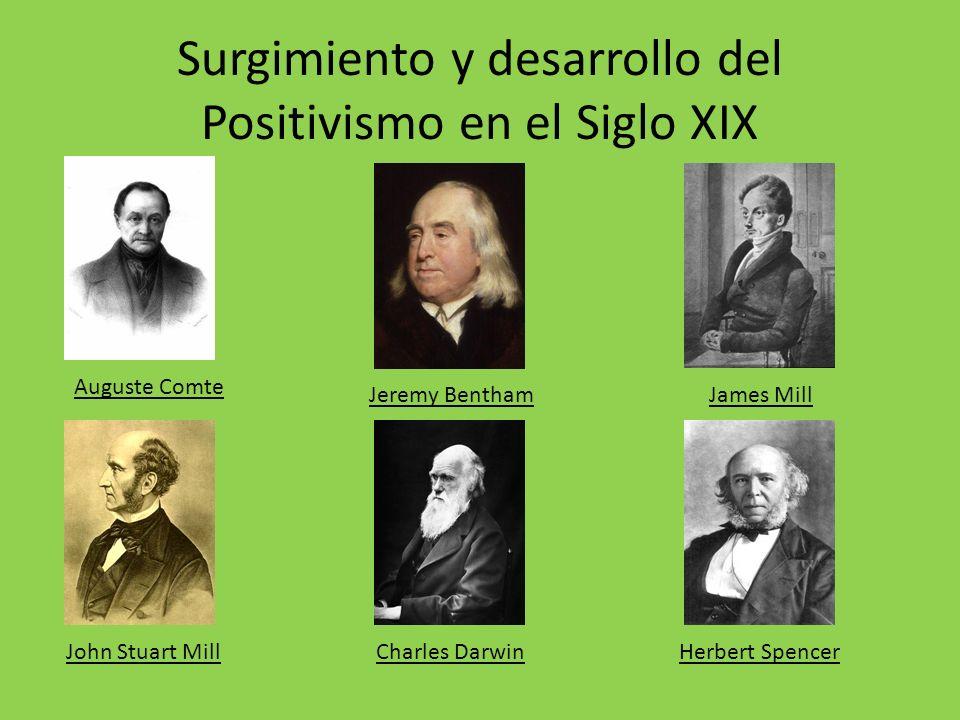 Surgimiento y desarrollo del Positivismo en el Siglo XIX Auguste Comte Jeremy BenthamJames Mill John Stuart MillCharles DarwinHerbert Spencer
