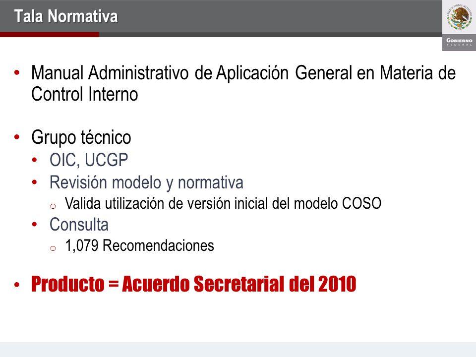 Tala Normativa Manual Administrativo de Aplicación General en Materia de Control Interno Grupo técnico OIC, UCGP Revisión modelo y normativa o Valida