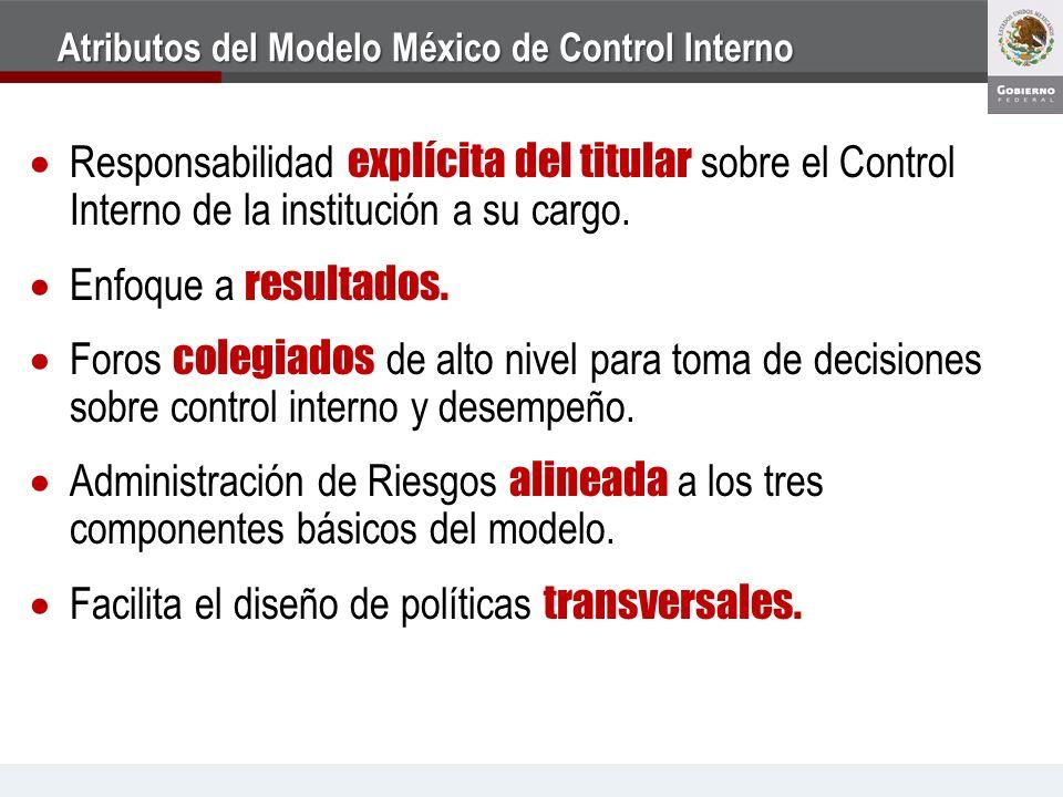 Atributos del Modelo México de Control Interno Responsabilidad explícita del titular sobre el Control Interno de la institución a su cargo. Enfoque a