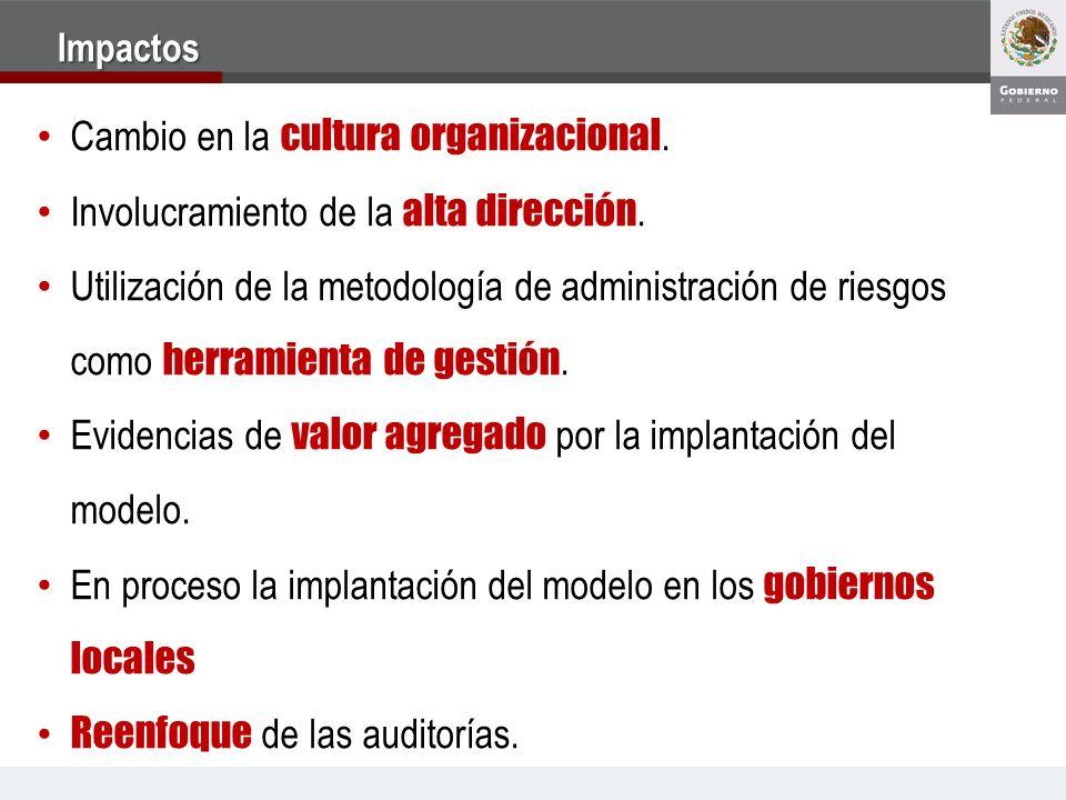Impactos Cambio en la cultura organizacional. Involucramiento de la alta dirección. Utilización de la metodología de administración de riesgos como he