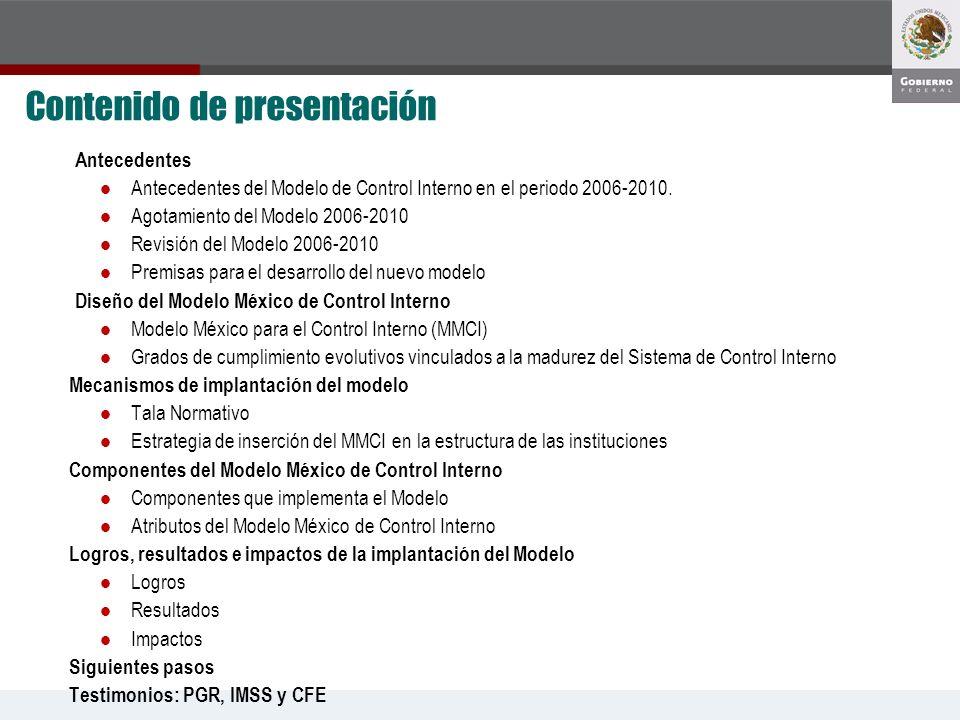 Antecedentes Antecedentes del Modelo de Control Interno en el periodo 2006-2010. Agotamiento del Modelo 2006-2010 Revisión del Modelo 2006-2010 Premis
