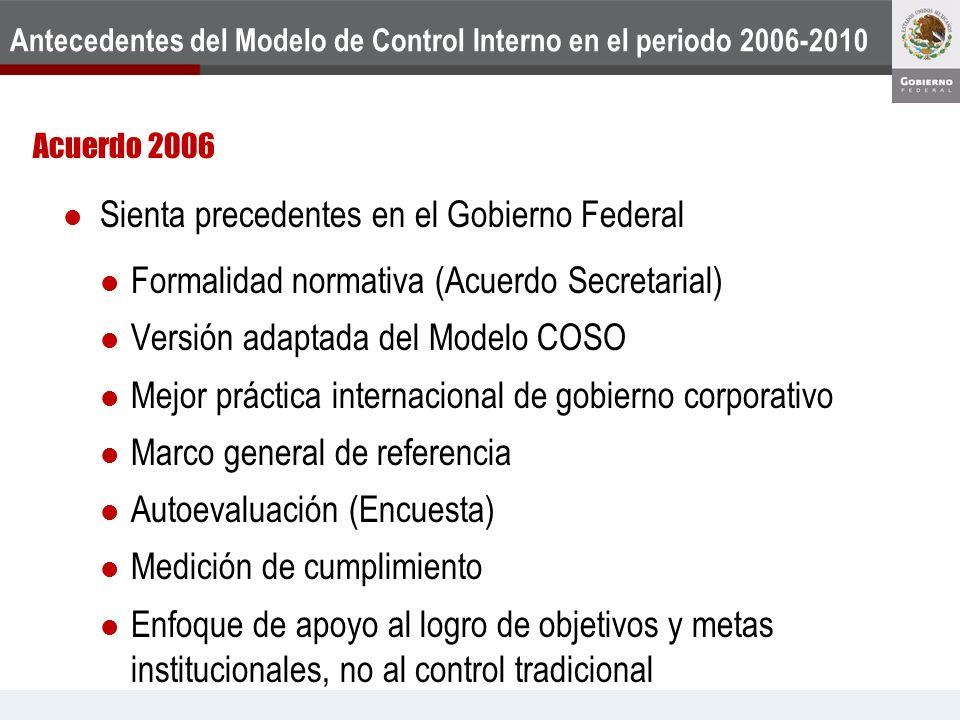 Antecedentes del Modelo de Control Interno en el periodo 2006-2010 Acuerdo 2006 Sienta precedentes en el Gobierno Federal Formalidad normativa (Acuerd