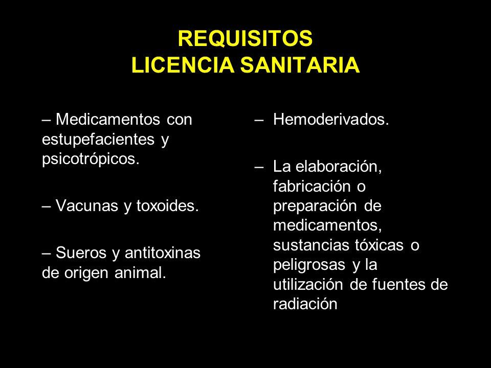 REQUISITOS LICENCIA SANITARIA – Medicamentos con estupefacientes y psicotrópicos.