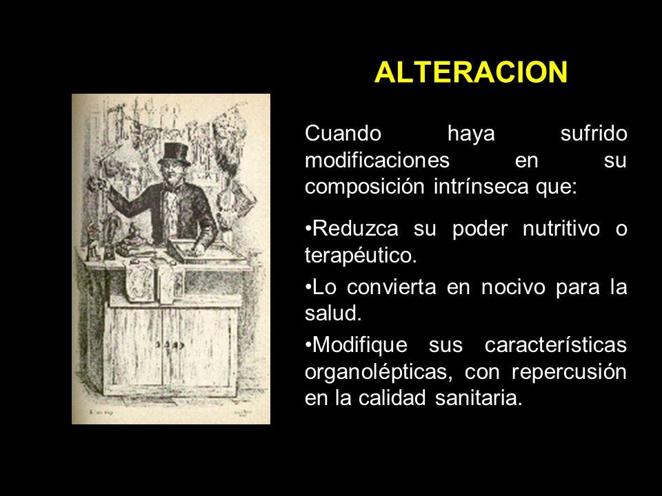 ALTERACION Cuando haya sufrido modificaciones en su composición intrínseca que: Reduzca su poder nutritivo o terapéutico.