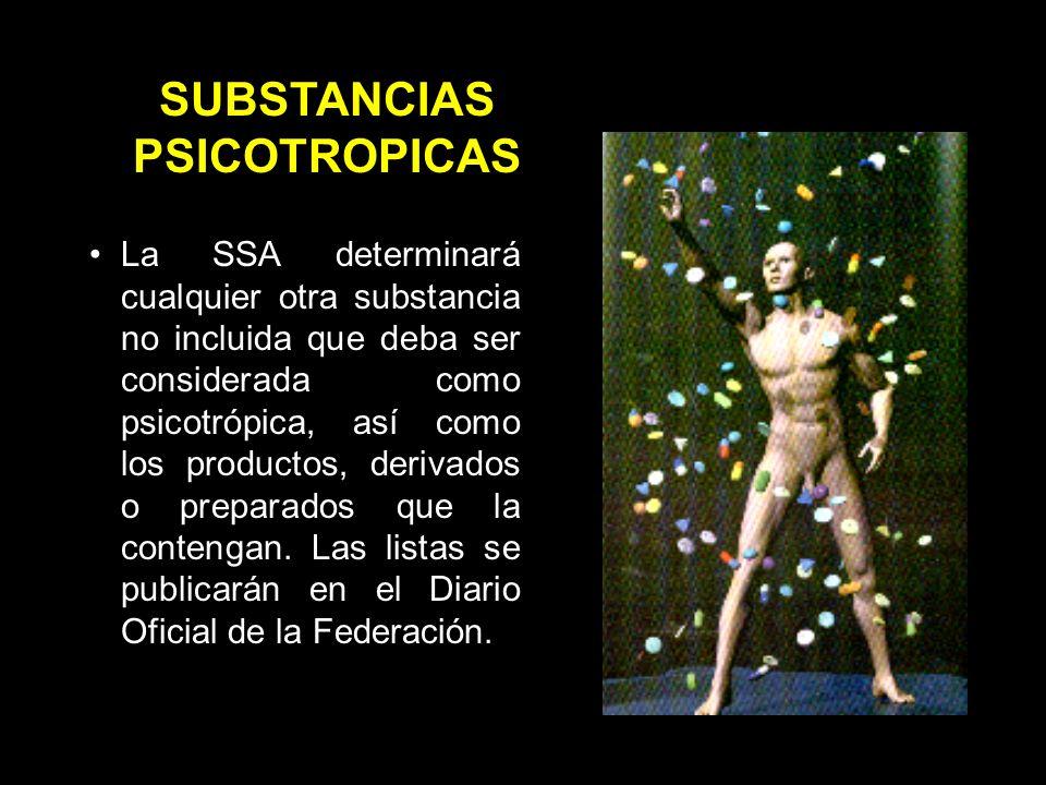La SSA determinará cualquier otra substancia no incluida que deba ser considerada como psicotrópica, así como los productos, derivados o preparados que la contengan.
