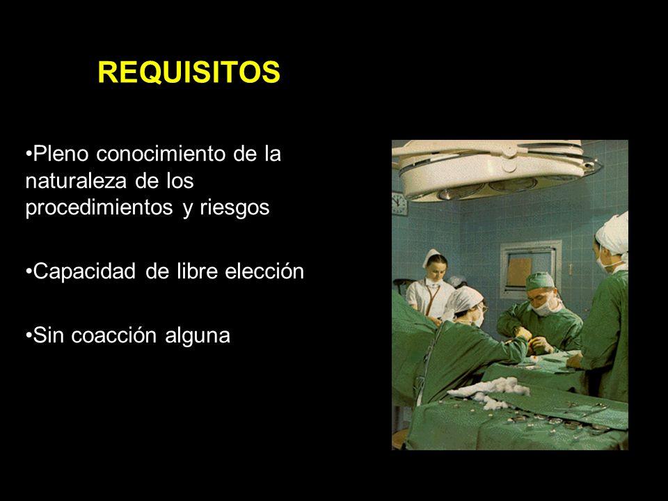 Pleno conocimiento de la naturaleza de los procedimientos y riesgos Capacidad de libre elección Sin coacción alguna REQUISITOS