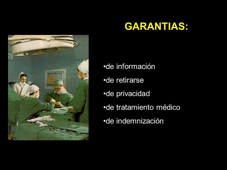 GARANTIAS: de información de retirarse de privacidad de tratamiento médico de indemnización