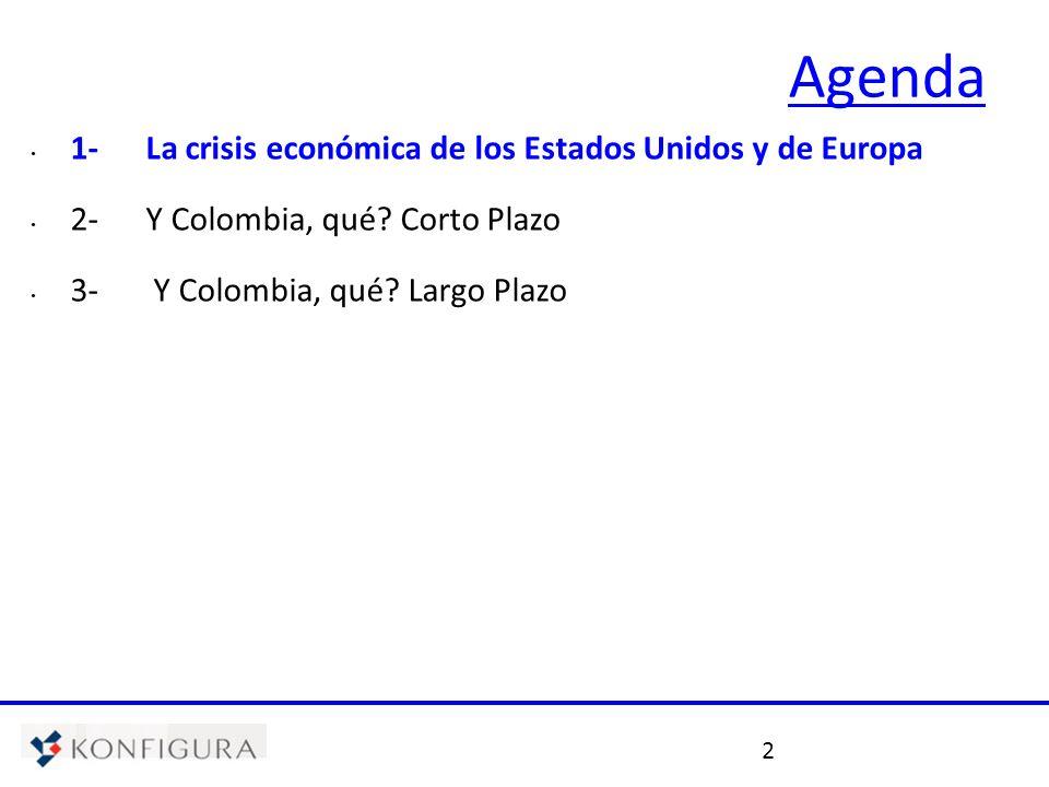 2 Agenda 1- La crisis económica de los Estados Unidos y de Europa 2- Y Colombia, qué? Corto Plazo 3- Y Colombia, qué? Largo Plazo