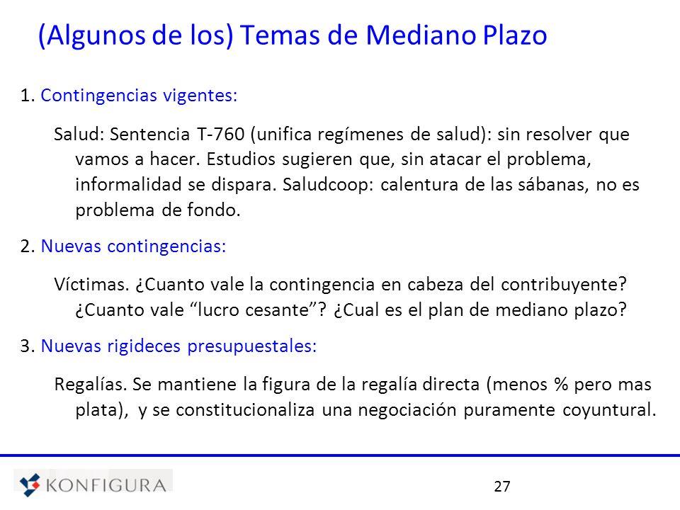 27 (Algunos de los) Temas de Mediano Plazo 1. Contingencias vigentes: Salud: Sentencia T-760 (unifica regímenes de salud): sin resolver que vamos a ha